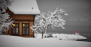 House in snow, covered in snow, snow scene, holiday house, happy new year